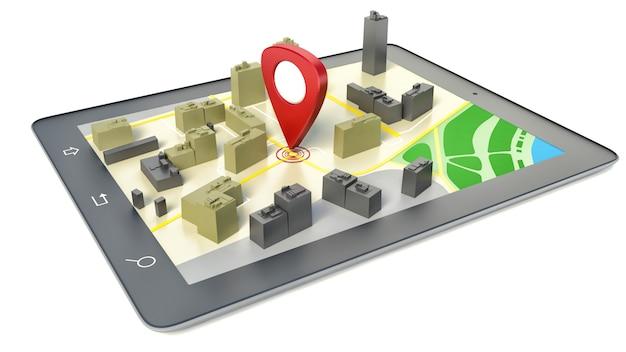 Tablet pc com mapa do navegador sem fio