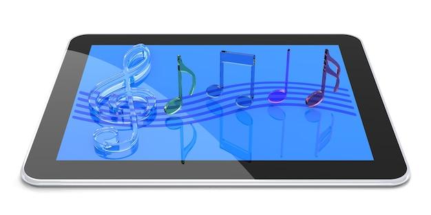 Tablet pc com som digital. renderização 3d