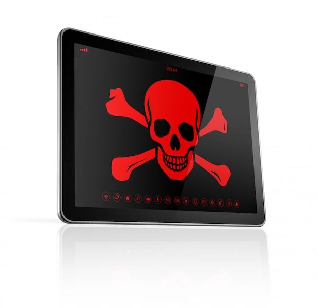 Tablet pc com um símbolo de pirata na tela. conceito de hackers