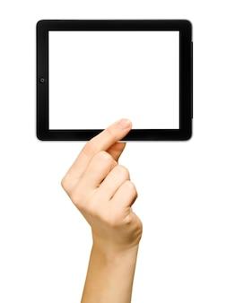 Tablet pc isolado em uma mão nos fundos brancos. coleções