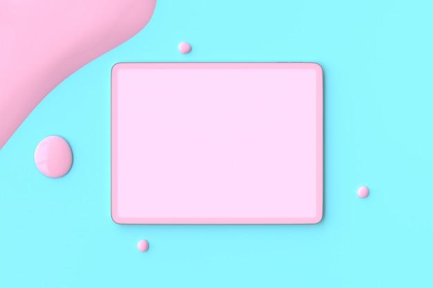 Tablet rosa em azul
