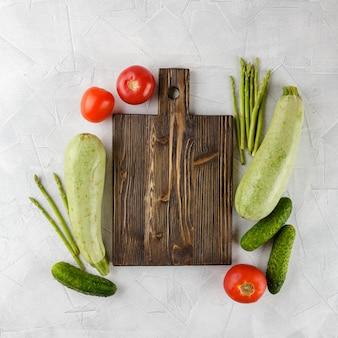 Tábua corte, com, legumes