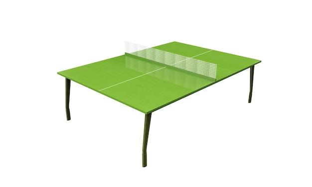 Tábua de pingue-pongue verde ou mesa com rede isolada em um fundo branco renderização 3d