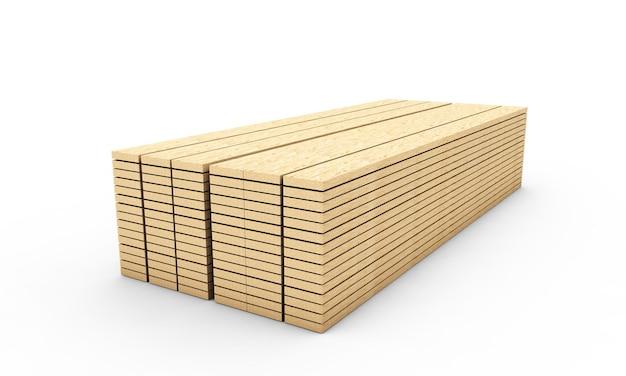 Tábuas de madeira. placas de ripas isoladas em renderização 3d de fundo branco