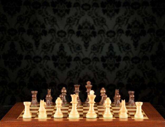 Tabuleiro de xadrez na parede vintage