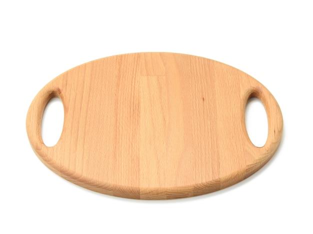 Tabuleiro oval de madeira isolado