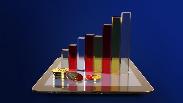 Tabuleta e carta rendição 3d para o índice do negócio.
