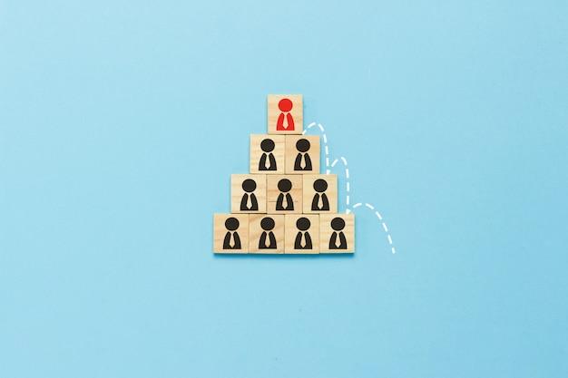 Tabuletas de madeira com ícones de pessoas com laços, organizados por uma pirâmide sobre fundo azul com uma linha pontilhada mostrando elevação, crescimento na carreira, demissão, substituição por novo funcionário. vista plana leiga, superior.