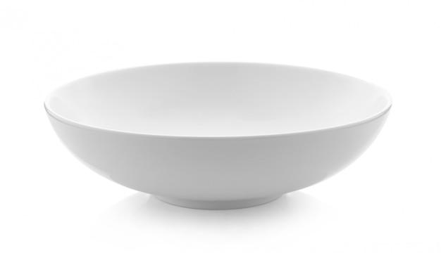 Taça branca vazia na superfície branca