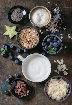 Taça de batido de iogurte