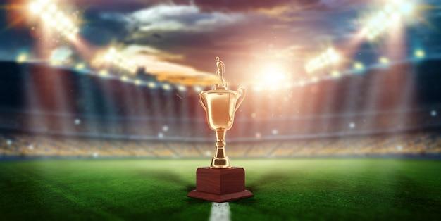 Taça de ouro no fundo do estádio