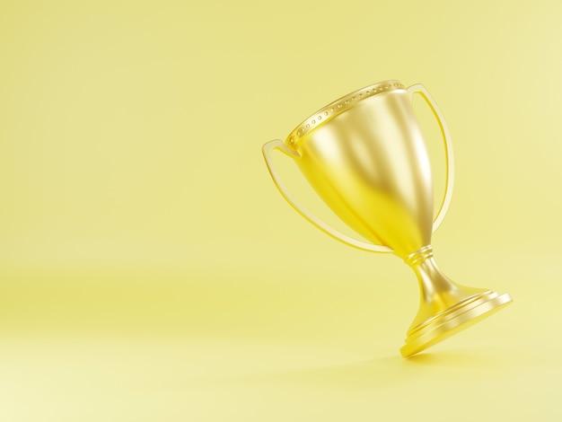 Taça de troféu de ouro campeão troféu taça de ouro metálico brilhante vencedor e renderização 3d de vitória