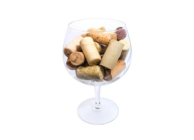 Taça de vinho cheia de rolhas