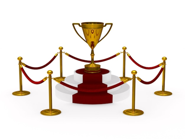 Taça do troféu de ouro no pódio. espaço em branco. ilustração 3d isolada