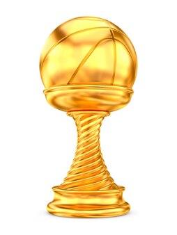Taça do troféu de ouro sobre fundo branco. ilustração 3d isolada