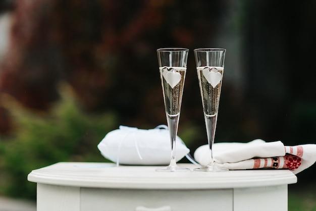 Taças de casamento para vinho e champanhe de cristal