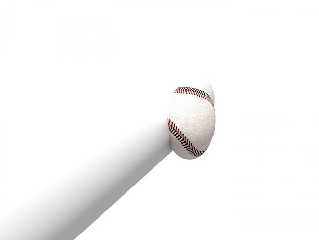 Taco de beisebol e beisebol com traçado de recorte, renderização em 3d