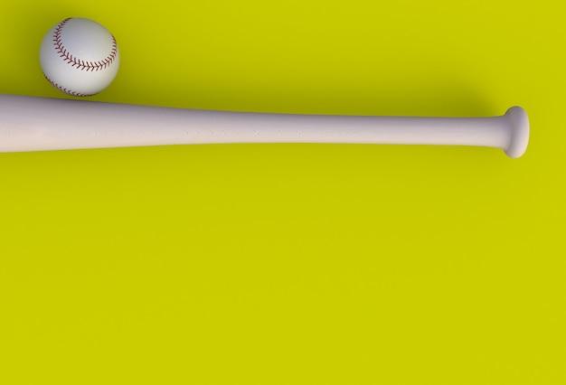 Taco de beisebol isolado em fundo amarelo, renderização em 3d