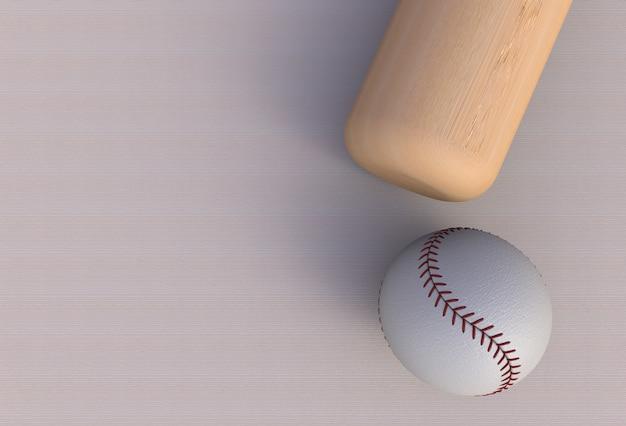 Taco de beisebol isolado na mesa, renderização em 3d