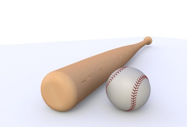 Taco de beisebol isolado no fundo branco, renderização em 3d