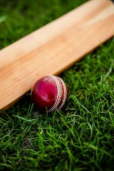 Taco de críquete e bola na grama verde