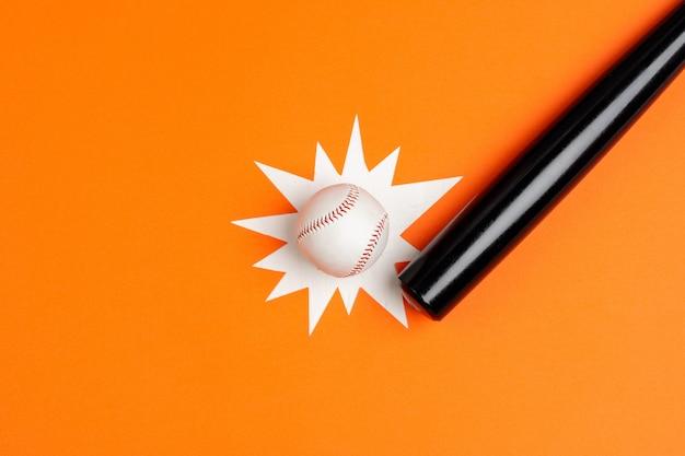 Taco e bola de beisebol, vista de cima