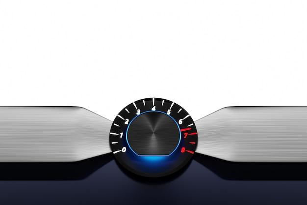 Tacômetro com luzes brancas e azul redondo