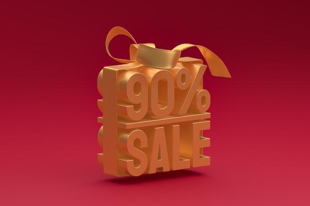 Tag 3d de venda de 90% em caixa com fita e laço em vermelho