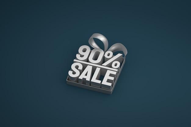 Tag 3d de venda de 90% na caixa com fita e arco no escuro