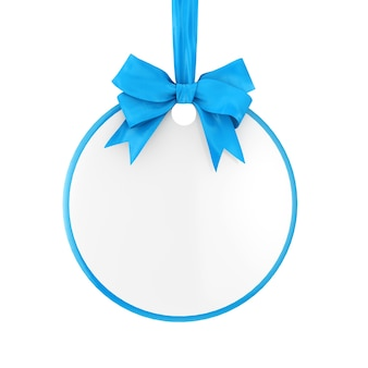 Tag de venda do círculo em branco com fita azul e arco sobre um fundo branco. renderização 3d