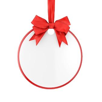 Tag de venda do círculo em branco com fita vermelha e arco sobre um fundo branco. renderização 3d