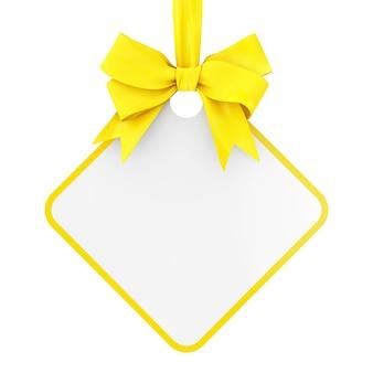 Tag de venda retangular em branco com fita amarela e arco sobre um fundo branco. renderização 3d
