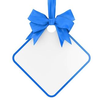 Tag de venda retangular em branco com fita azul e arco sobre um fundo branco. renderização 3d