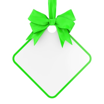 Tag de venda retangular em branco com fita verde e arco sobre um fundo branco. renderização 3d