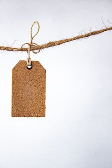Tag em branco com string, etiqueta de preço