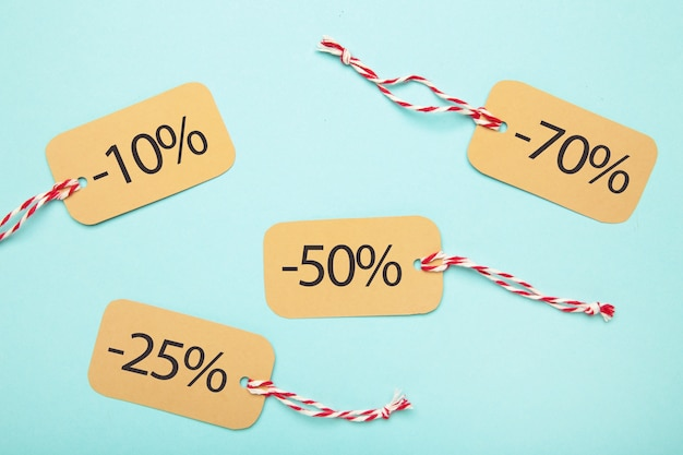 Tags de venda com vista superior percentual