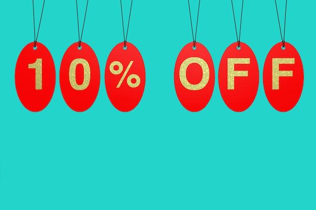 Tags de venda vermelha com 10 por cento de desconto no sinal sobre um fundo azul. renderização 3d