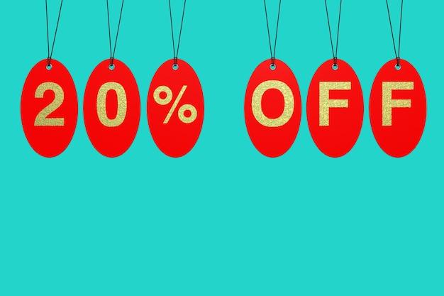 Tags de venda vermelha com 20 por cento de desconto no sinal sobre um fundo azul. renderização 3d