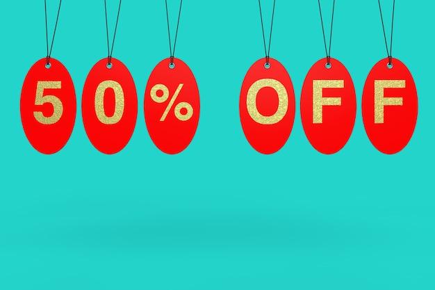 Tags de venda vermelha com 50% de desconto no sinal sobre um fundo azul. renderização 3d