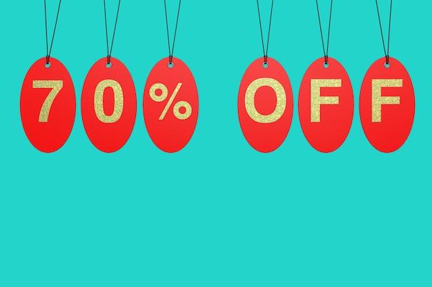 Tags de venda vermelha com 70% de desconto no sinal sobre um fundo azul. renderização 3d