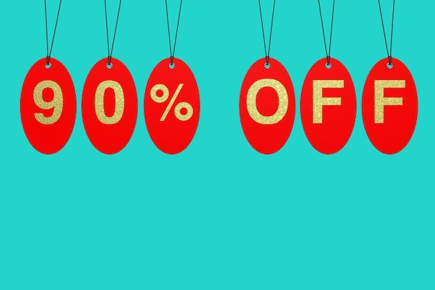 Tags de venda vermelha com 90% de desconto no sinal sobre um fundo azul. renderização 3d