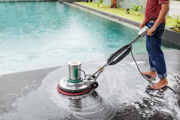 Tailandeses, limpeza, pretas, granito, chão