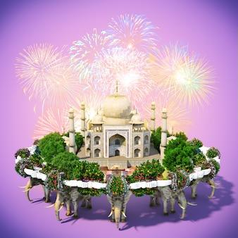 Taj mahal rodeado por flores e árvores. viajando