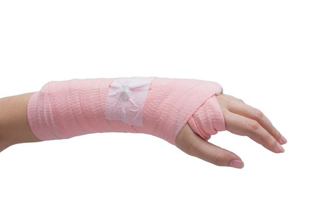 Tala, osso quebrado, mão quebrada isolar em fundo branco