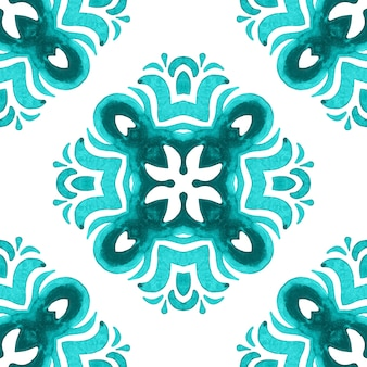 Talavera cerâmica mão desenhada telha sem costura ornamental aquarela pintura padrão. cultura mediterrânea com motivos cruzados