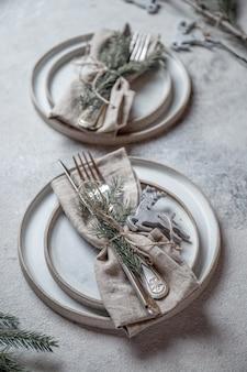 Talheres de mesa cristmas com decoração de natal