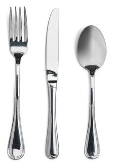 Talheres. garfo, colher e faca isolados no branco