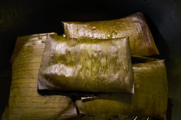 Tamale receita mexicana com folhas de bananeira