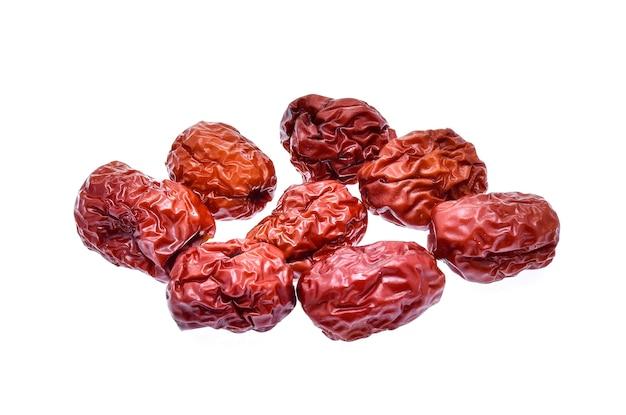 Tâmara vermelha seca ou jujuba chinesa em branco