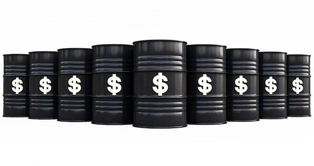 Tambores de óleo pretos com cifrão no fundo branco. renderização em 3d